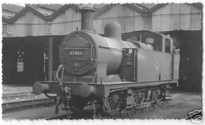 Tank locomotive leaving the shed