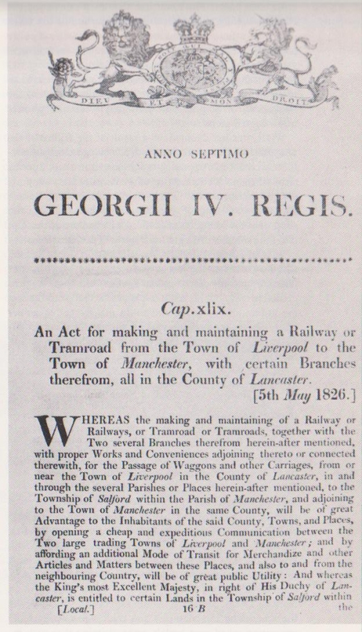 Liverpool and Manchester Railway Act