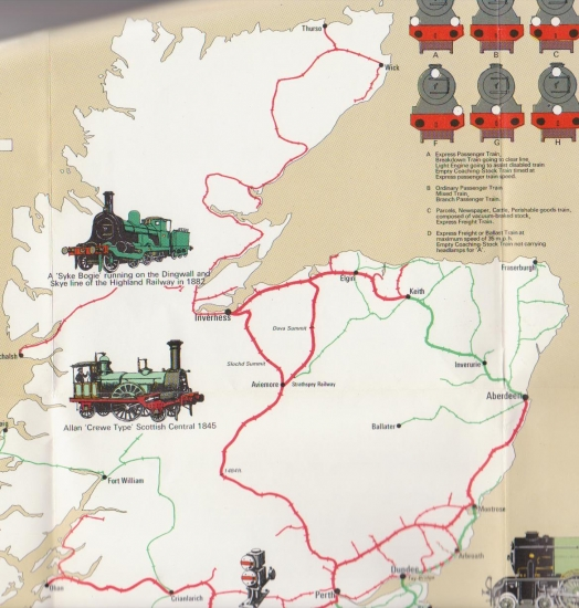 Railway History Map of Britain - northern Scotland