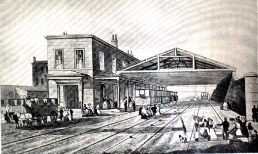 Railway Office in black and white