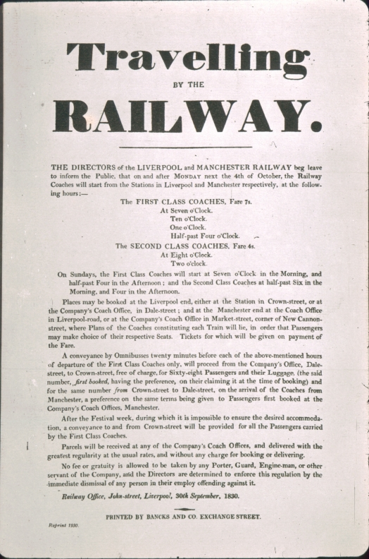 Liverpool and Manchester Railway passenger timetable