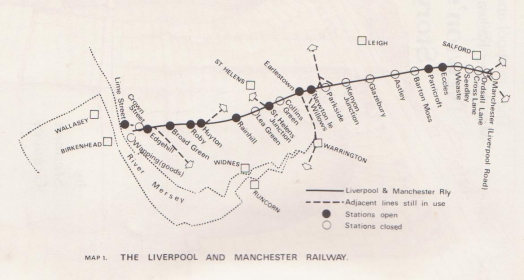 Route of the Liverpool and Manchester Railway
