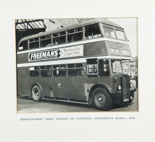 Advertisement panel carried on Liverpool Corporation buses 1959