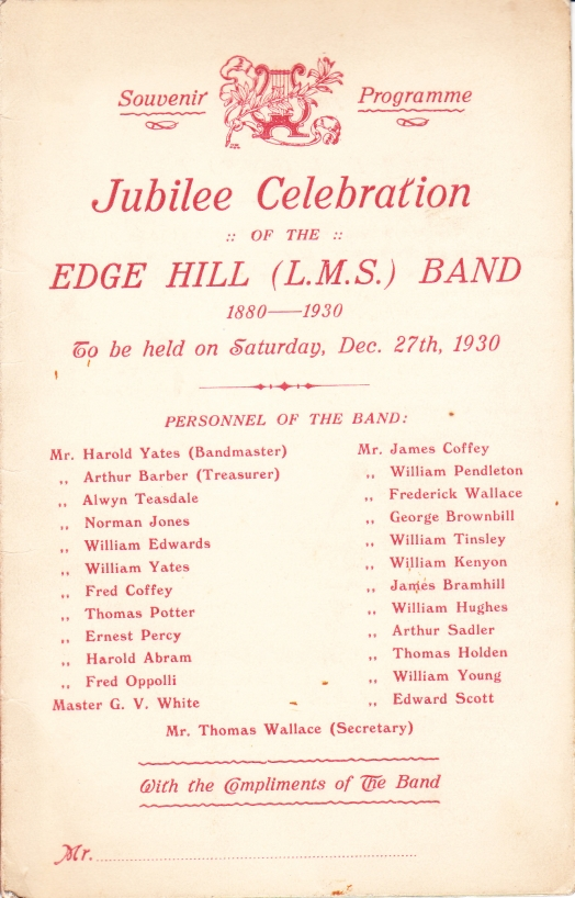 Edge Hill Band Jubilee Celebration Souvenir Programme