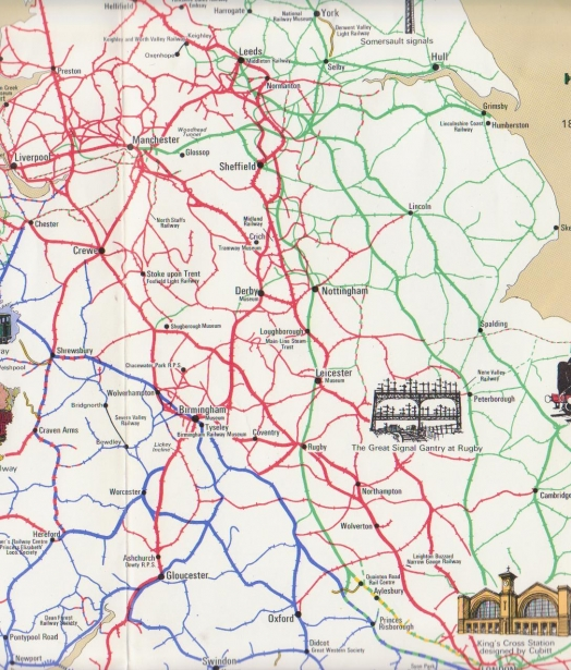 Railway History Map of the Britain - the Midlands