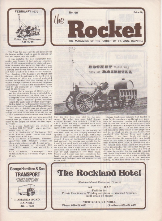 The Rocket February 1979 front page