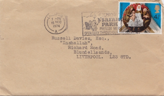 Edge Hill Band to Mr.Davies envelope
