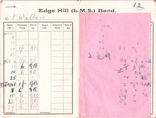 Fred Wallace's Edge Hill LMS Band Subscription Card