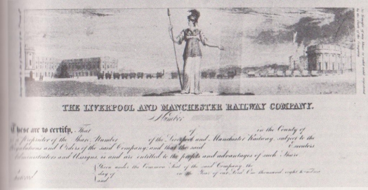 Liverpool and Manchester Railway Company share certificate