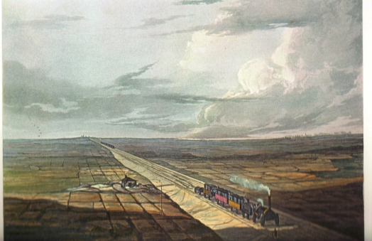 Railway Across Chat Moss, Coloured View of the Liverpool and Manchester Railway