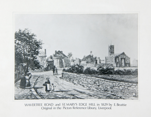 Wavertree Road and St. Mary's Edge Hill in 1829 by E Beattie