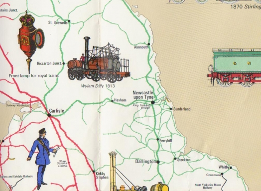 Railway History Map of Britain - North East and Cumbria